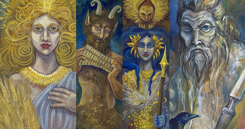 details of deity paintings by the author