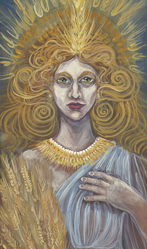 Detail of Demeter painting by Laura Tempest Zakroff