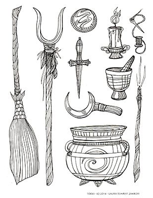"""Witch Tools - from the author's """"Witch's Brew Coloring Book"""" - available at www.owlkeyme.com"""