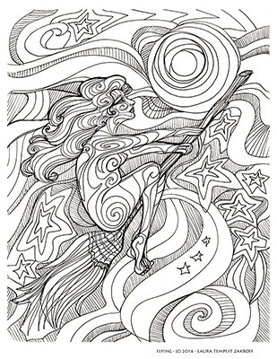 """Another page from the author's """"Witch's Brew Coloring Book"""" - available at www.owlkeyme.com"""