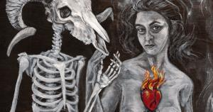 """Detail from the Witch Essence series painting """"Smoke"""" by the author"""