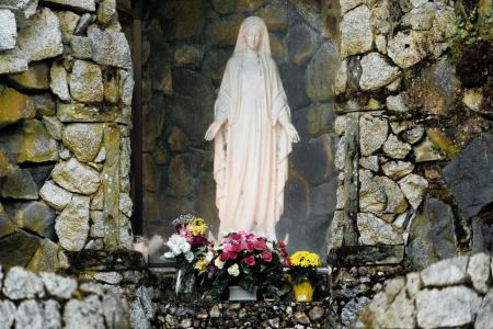 Statue of the Virgin Mary in a stone grotto with flowers.