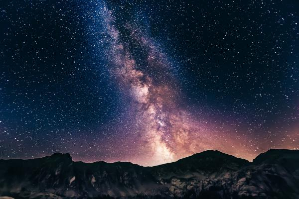 starry skies over mountain