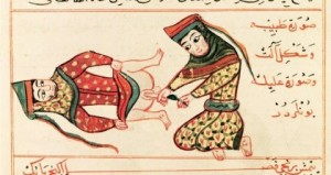 15th c. depiction of a midwife operating on what would then have been called a hermaphrodite (note that this term is not considered PC, and most would use intersex instead). Medical illustration in the Bibliothèque Nationale, Paris. Image in U.S. public domain.