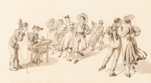 """Because when we think of the """"folk"""" we think of folk dance, right? """"Musik und Tanz."""" From Wikimedia Commons, in public domain."""