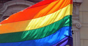 Pride flag, from Wikimedia Commons (CC license).