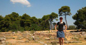 Me exploring the Acropolis. For a while, that length of skirt was as short as I went, and intentionally baggy too.