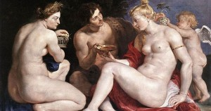 Another Rubens painting, this one depicting deities (Venus, Cupid, Bacchus, and Ceres). In public domain.
