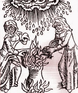Witches from a 15th century German woodcut. Thanks to Wikimedia for the image.