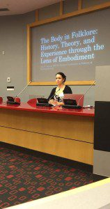Me giving a keynote address in April 2016, during which I addressed many professional boundaries. Photo by Brittany Warman.