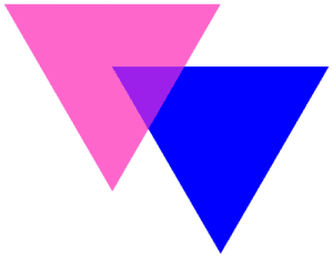 Bisexuality triangle symbol. In public domain from Wikimedia.