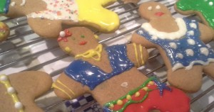 Gingerbread people that my family baked and decorated, in what has become traditional for us in the last few years.
