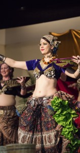Photo of me performing tribal belly dance at the 2016 Winter Bazaar. Picture by P. Shypula