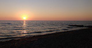 The Michigan shore where Sacred Circles took place.