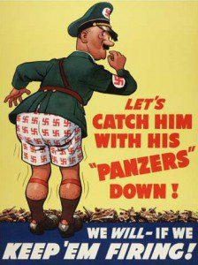World War II propaganda poster from Wikimedia Commons. In public domain.