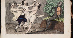 Public domain image from 1850 titled, amusingly, A Mormon and his wives dancing to the devil's tune