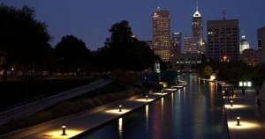 The Indianapolis skyline at night. Photo from Wikimedia, under CC license.