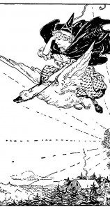 The iconic Mother Goose, from a 1901 collection of nursery rhymes (in public domain, from Wikimedia Commons).