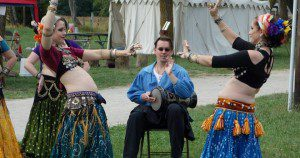 Performing folk dance to folk music at a festival event (Flint Creek RenFaire).
