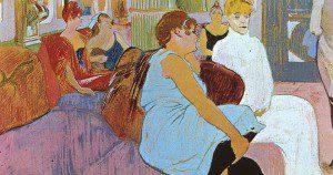Salon in the rue des moulins by Toulouse-Lautrec. In public domain.