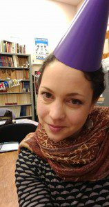 Me in a party hat in the UC Berkeley Folklore Archive.