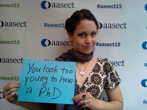 A pic of me at AASECT 2015 in the microaggression selfie booth.