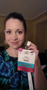 "Conference badge selfie! One ribbon says ""Presenter"" & the other reads ""Sex Geek."""