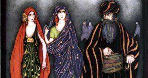 "Illustration from ""Blue Beard"" (ATU 312). In public domain."
