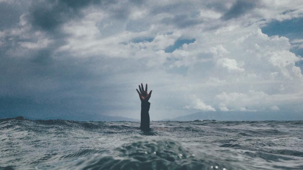 a human hand reaching up out of a large body of water