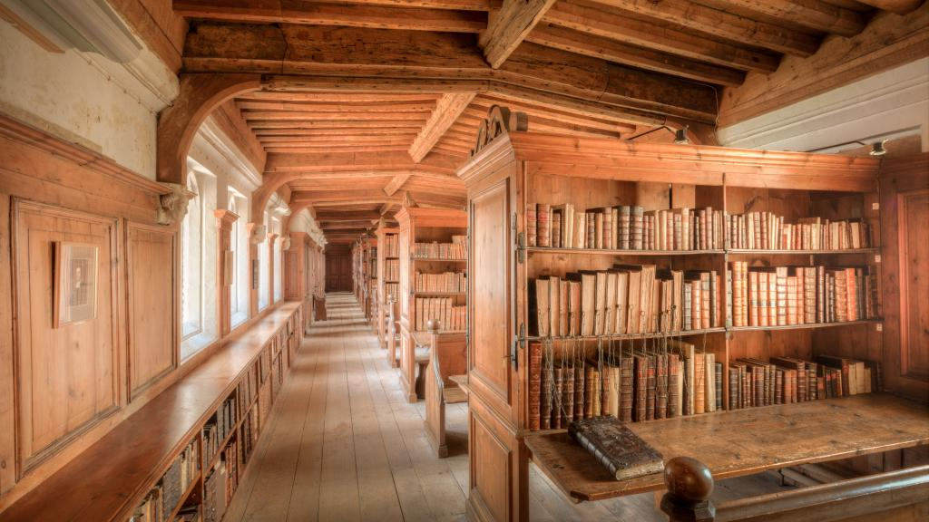 Interior of the library inside Wells Cathedral.