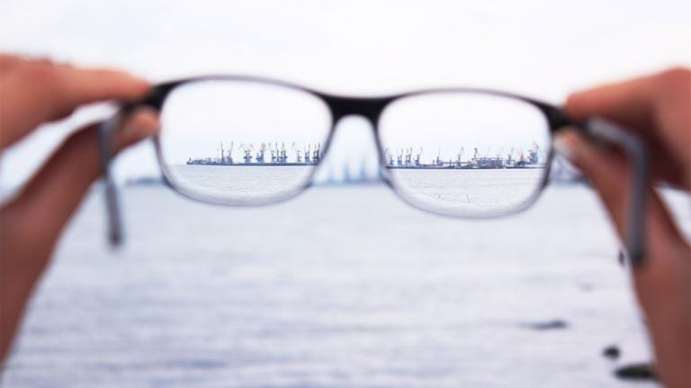 pair of glasses show distance land clearly