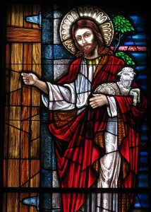 Saint_Mary_of_the_Presentation_Catholic_Church_(Geneva,_Indiana)_-_stained_glass,_Behold_I_Stand_at_the_Door_and_Knock,_detail (1)
