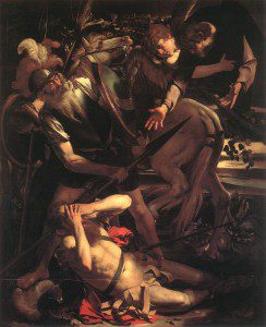 """""""The Conversion of Paul"""" by Caravaggio [Public domain], via Wikimedia Commons. Trump's conversion has been likened to St. Paul's conversion experience"""
