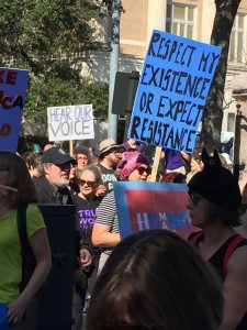 """Respect my existence or expect resistence"" Austin Women's March Jan 21 2017"