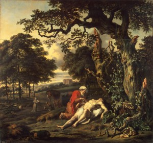 Jan Winjants painting showing the good Samaritan touching the possibly unclean man
