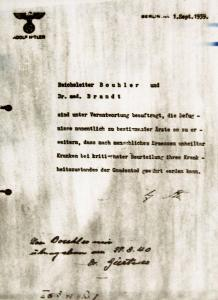 Hitler gives written permission to kill the incurably kill.