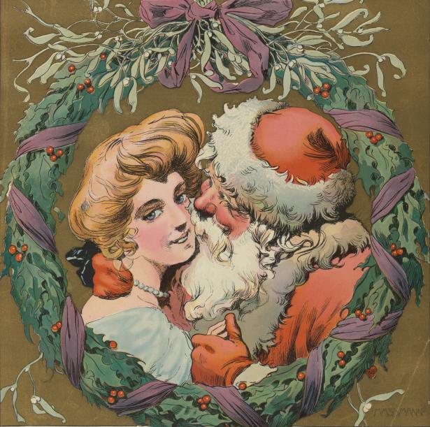 Santa hugging a young girl