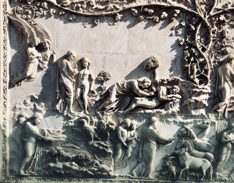 bas-relief outside the Orvieto Cathedral anti-christ