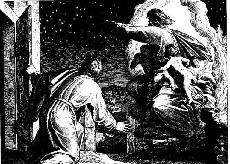 """""""And he brought him forth abroad, and said, Look now toward heaven, and tell the stars, if thou be able to number them: and he said unto him, So shall thy seed be"""" (Julius Schnorr von Carolsfeld)"""