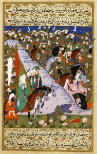 The Battle of Uhud, 16th c. Turkish miniature. By Anonymous (Author) [Public domain], via Wikimedia Commons.