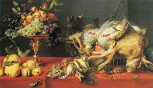 Frans Snyders, Game and fruit on a table (1625) via Wikimedia Commons