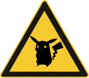 "Here have a Pikachu sign since Pikachu needs to be exposed to something to gain an ""advantageous characteristic"" which is its evolution and thus tie it back to Lamarckian thought."