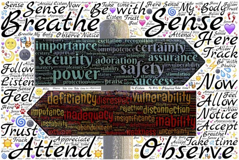 You can see words related to peace & conflict studies in this image.