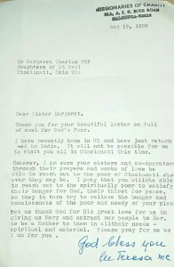 Letter from Mother Teresa, MC to Sr. Margaret, FSP courtesy of Sr. Margaret, FSP