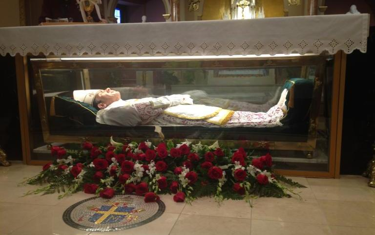The remains of St. John Neumann at the National Shrine of St. John Neumann in Philly.
