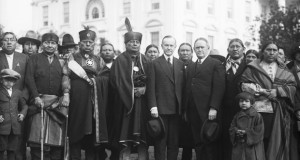 Osage representatives with President Coolidge at the White House in 1924. Photograph: Bettmann/Getty