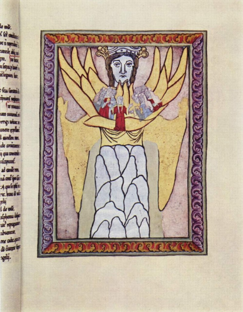 The woman Wisdom holding the Ecclesia (church), from a medieval manuscript of the work of Hildegard of Bingen. Image in the public domain, taken from Wikipedia.