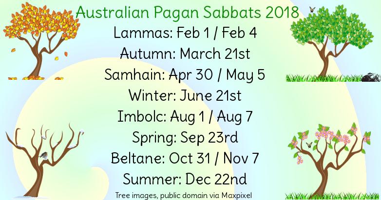 Aussie Pagan Calendar for 2018