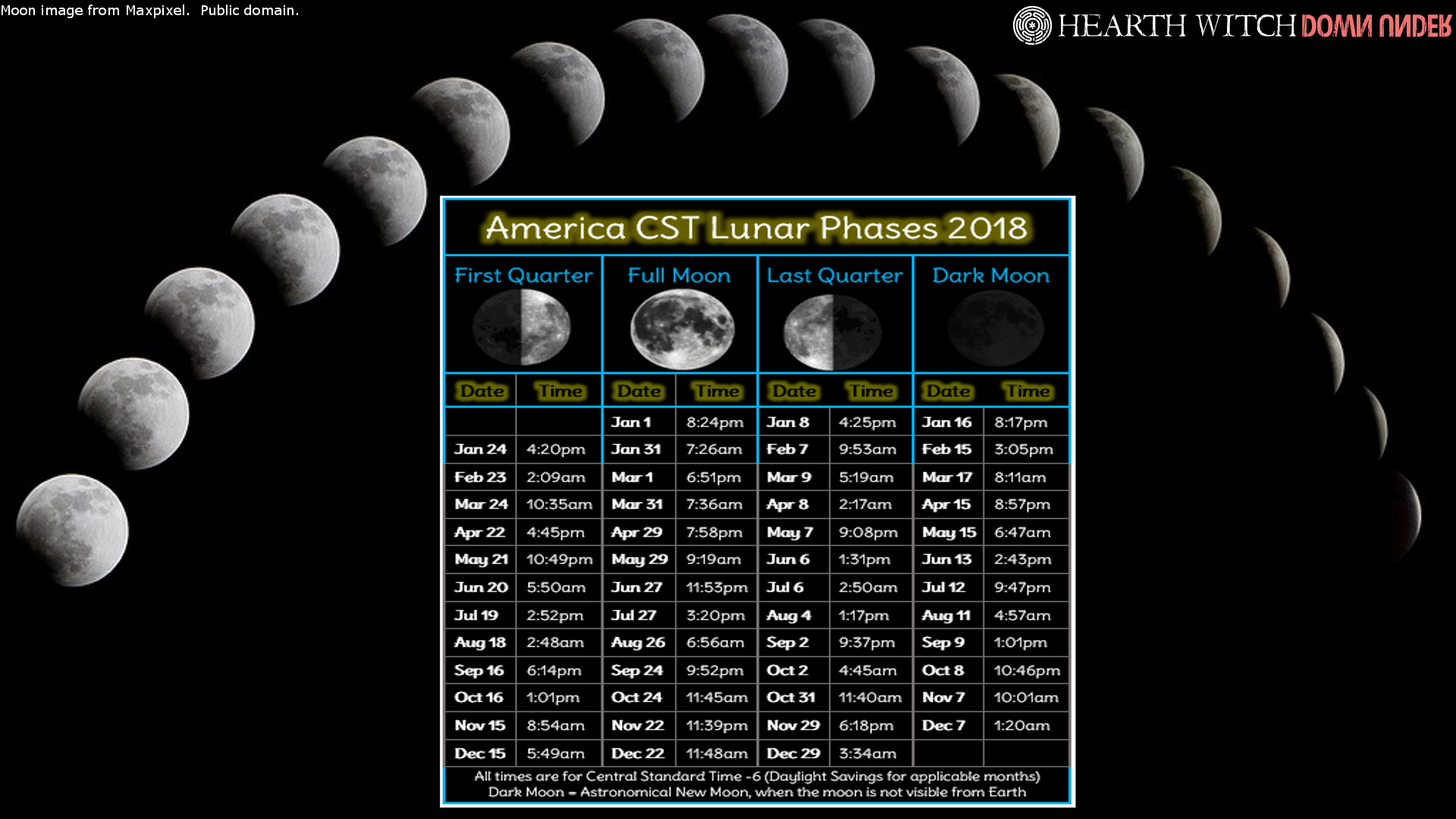 Moon phase wallpaper, USA CST 2018