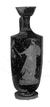 Hekate wearing a peplos (long dress) and wielding twin torches. [St Petersburg State Museum]
